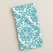 Teal Floral Block Print Napkins, Set of 4