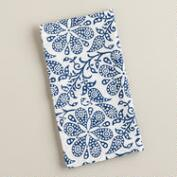 Indigo Floral Block Print Napkins, Set of 4
