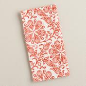 Flame Orange Floral Block Print Napkins, Set of 4