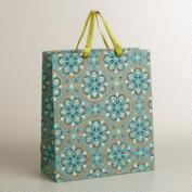 Extra-Large Turquoise Nomad Tiles Handmade Gift Bag