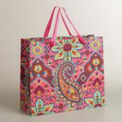 Extra-Large Pink Paisley Handmade Gift Bag