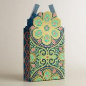 Large Green Nomad Tiles Die-Cut Handmade Gift Bag