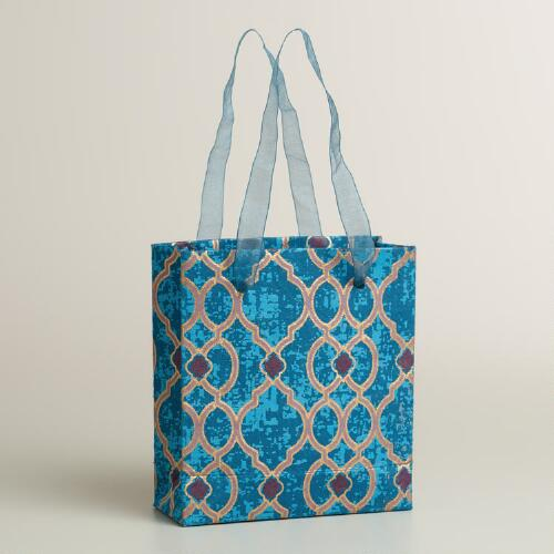 Mini Blue Geo and Peacock Handmade Gift Bags, Set of 2