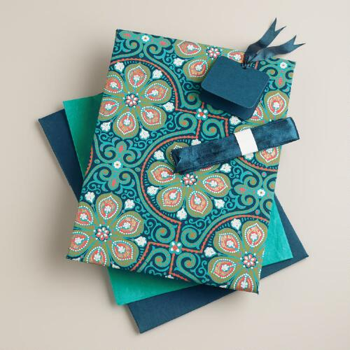 Blue Nomad Tiles Handmade Fabric Gift Box Kit