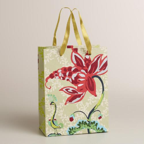 Small Lime Bird Treehouse Handmade Gift Bag