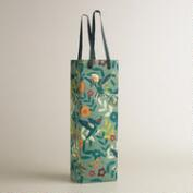 Gray Woodland Birds Handmade Wine Bag