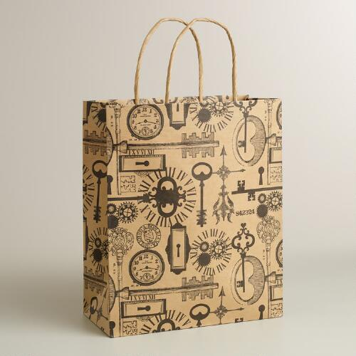 Large Skeleton Keys Kraft Gift Bag