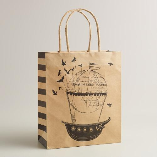 Medium Airship and Birds Kraft Gift Bag