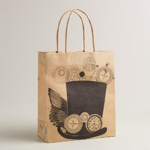 Medium Top Hat and Gears Kraft Gift Bag