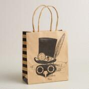 Small Steampunk Bird Mask Kraft Gift Bag