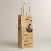 'Dream Bigger' Airship Kraft Wine Bag