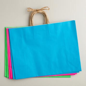 Large Neon Kraft Gift Bags, 6-Pack