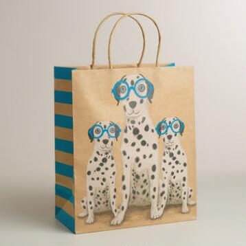 Large Dalmatian Family with Neon Glasses Kraft Gift Bag