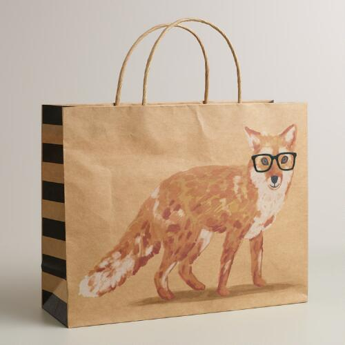 Large Fox with Vogue Glasses Kraft Gift Bag