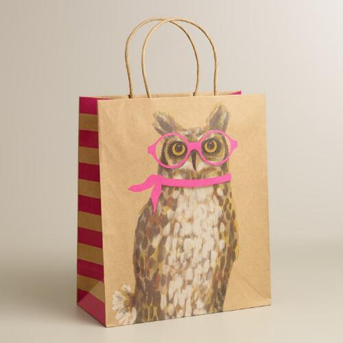 Large Owl with Neon Glasses Kraft Gift Bag
