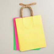 Medium Neon Kraft Gift Bags, 6-Pack