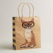 Medium Chihuahua with Glasses Kraft Gift Bag