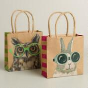 Mini Rabbit and Owl with Glasses Kraft Gift Bags, Set of 2