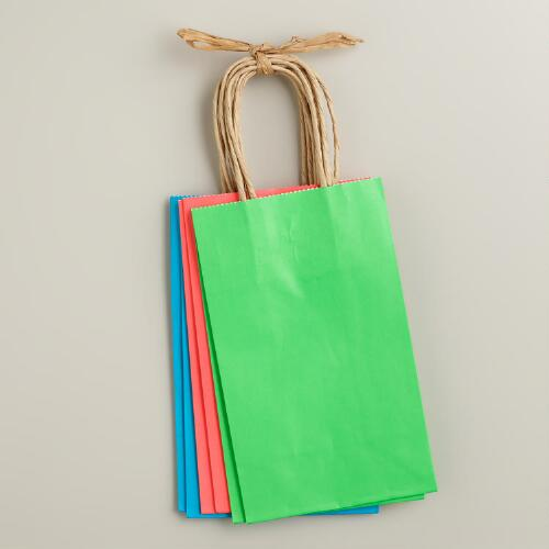 Small Neon Kraft Gift Bags, 6-Pack
