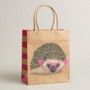Small Hedgehog with Glasses Kraft Gift Bag