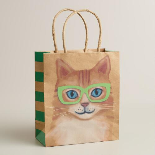 Small Cat with Neon Glasses Kraft Gift Bag