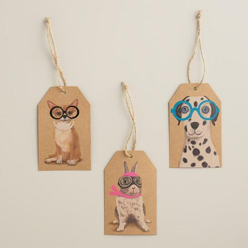 Pets with Neon Glasses Kraft Gift Tags, Set of 6