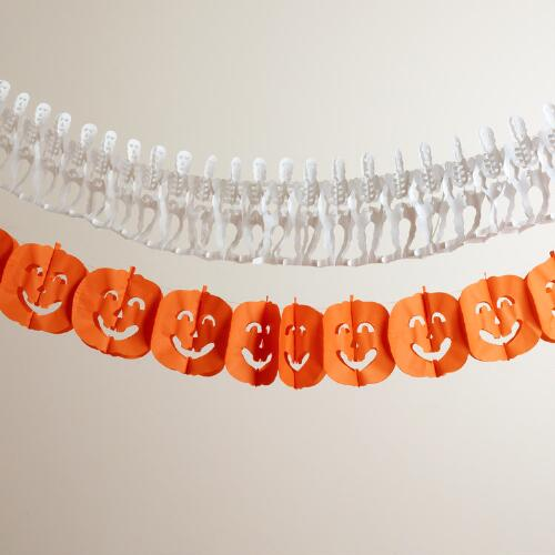 Skeleton and Pumpkin Paper Garlands, Set of 2