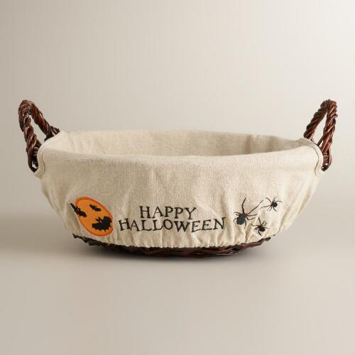 Happy Halloween Lined Willow Basket