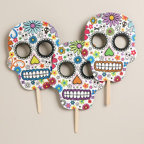 Day of the Dead Skull  Masks, Set of 3