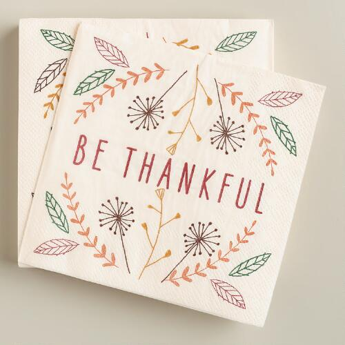 Be Thankful Beverage Napkins, 20-Count