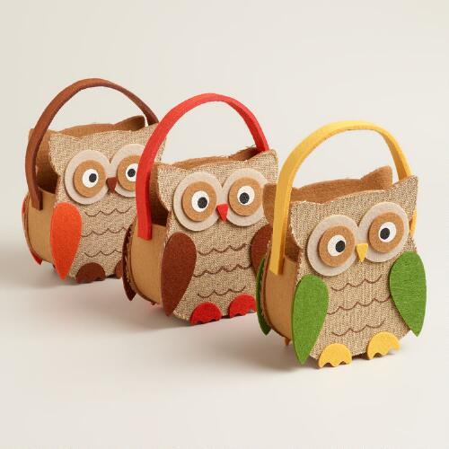 Owl Harvest Felt Baskets, Set of 3