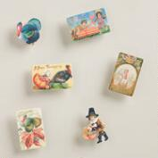 Harvest Vintage Postcard Wood Clips, Set of 6
