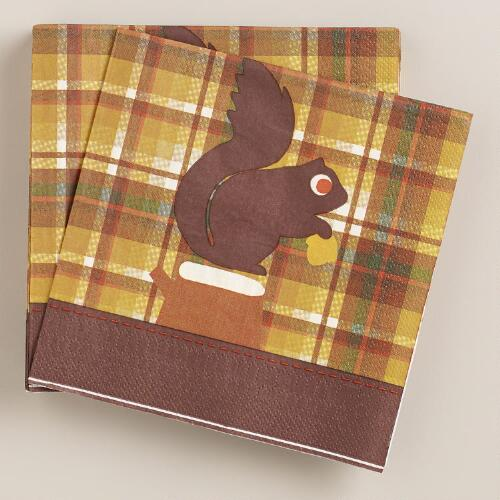Squirrel Plaid Harvest Lunch Napkins, 20-Count