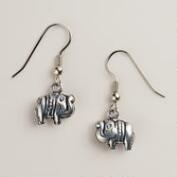 Silver Elephant Drop Earrings