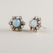 White Opal Cluster Stud Earrings