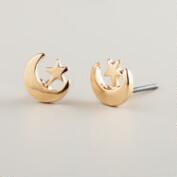 Gold Moon and Star Stud Earrings