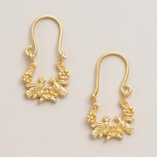 Small Gold Two Bird Drop Earrings