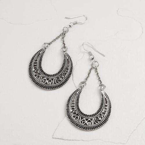 Silver Etched Crescent Chain Dangle Earrings