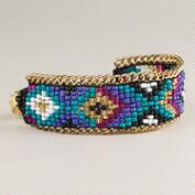 Gold and Turquoise Tribal Print Bracelet