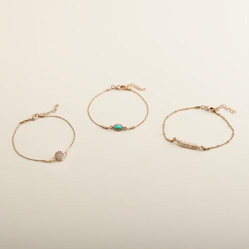 Gold Leaf Charm Bracelets, Set of 3