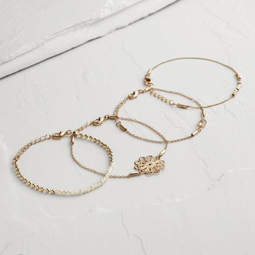 Gold Filigree and Flower Charm Bracelets, Set of 4