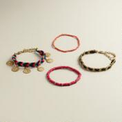 Multicolored Chain and Coin Layering Bracelets