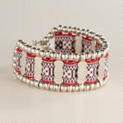 Silver Tribal Fabric and Chain Bracelet