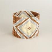 Gold and Silver Chevron Bead Bracelet