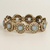 Blue Circles with Rhinestones Bracelet