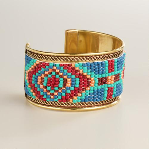 Multicolored Gold Tribal Bead Cuff Bracelet