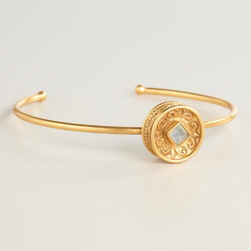 Gold Disc and Stone Bracelet