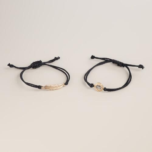 Black and Gold Feather and Eye Charm Bracelets, Set of 2