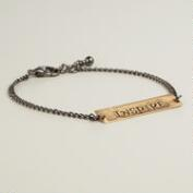 Hematite and Gold Inspire Chain Friendship Bracelet