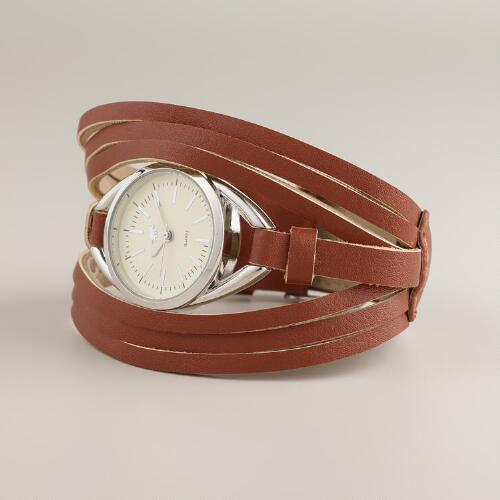 Brown Leather Multi-Strand Watch